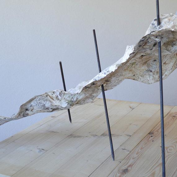 Tiziana Abretti, Tracce - il forno, contemporary sculpture, scultura contemporanea, calce, handmade paper, paper art